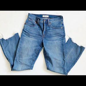 Madewell Cali Demi-Boot Jeans raw hem size 25